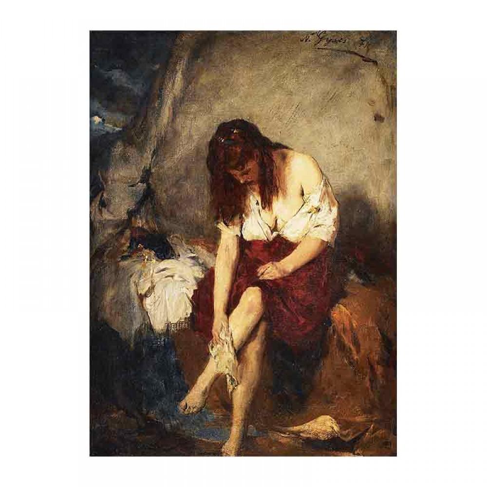 Γυναίκα πλένεται δίπλα στο ποτάμι
